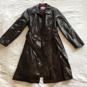 Black/purple hue faux snake skin trench